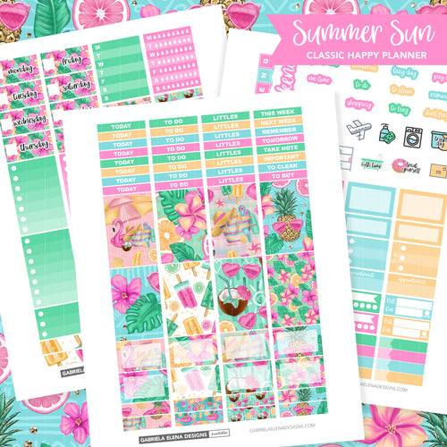 CLASSIC HAPPY PLANNER Printable / Instant Download / Summer Sun