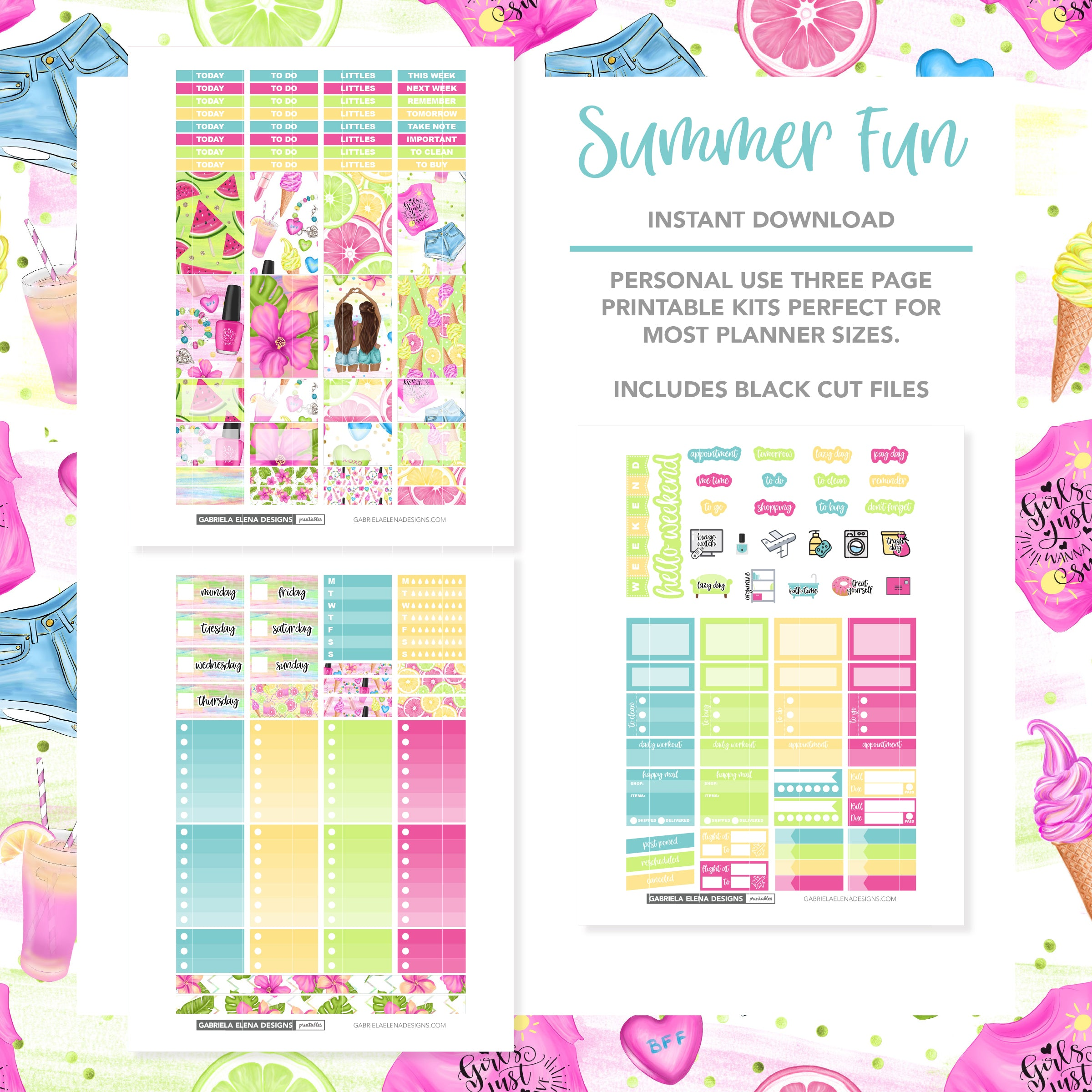 CLASSIC HAPPY PLANNER Printable / Instant Download / Summer Fun