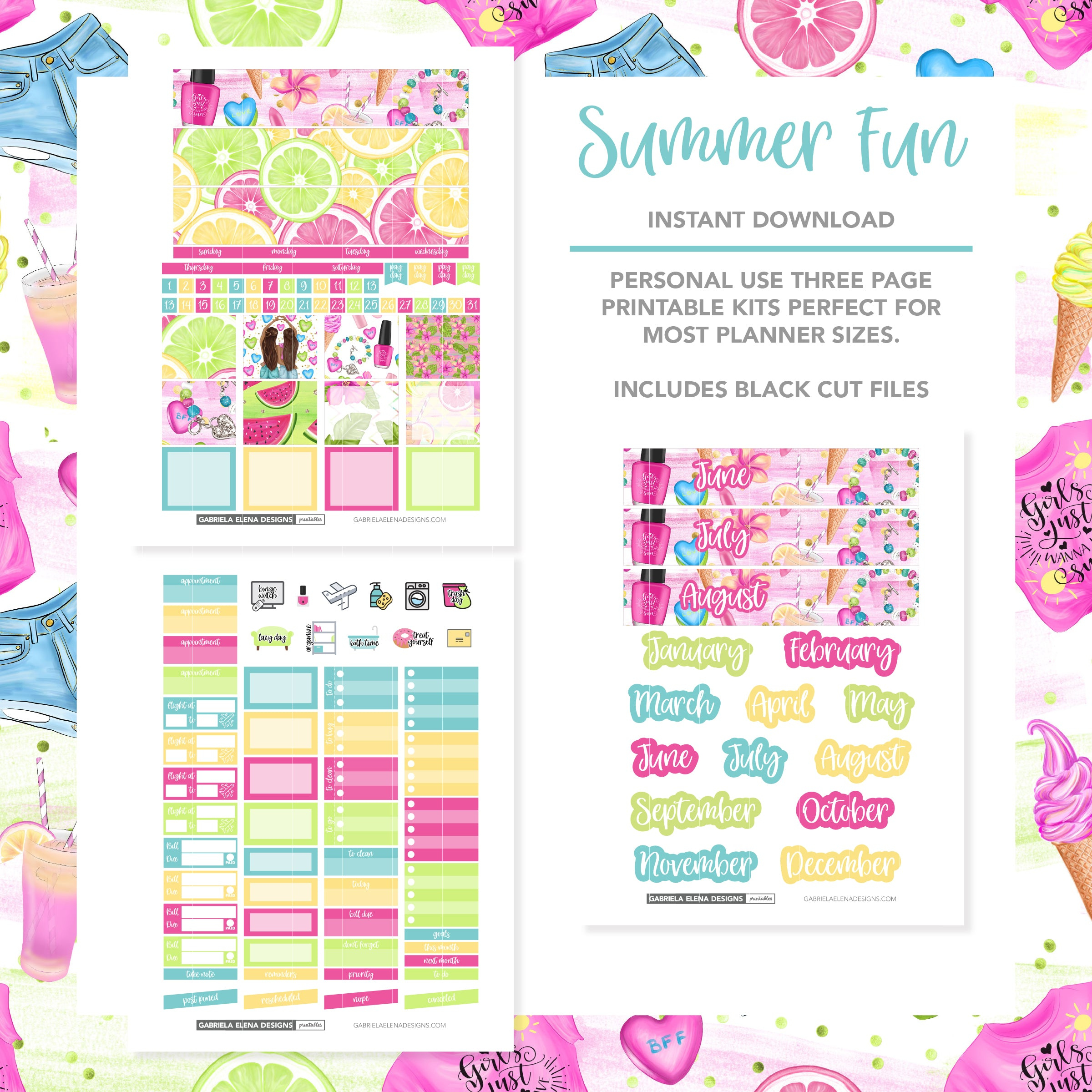MONTHLY Printable / Instant Download / Summer Fun