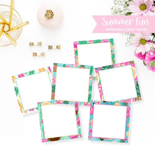 STICKY NOTES Printable / Instant Download / Summer Sun