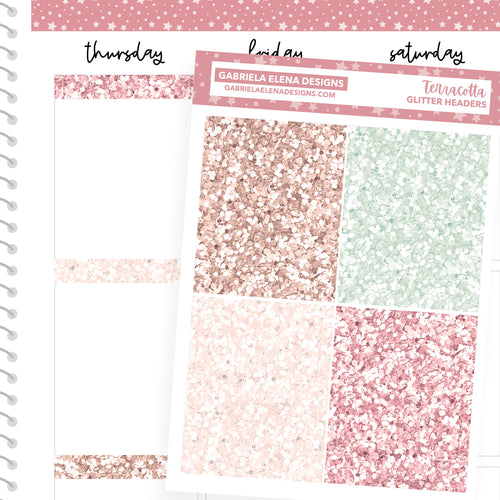 Terracotta // a la carte / Sticker Kit Add On / Glitter Headers