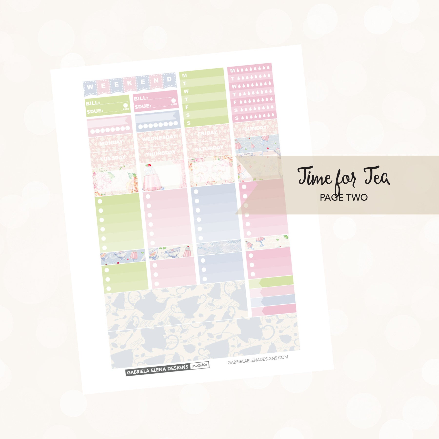 VERTICAL Printable / Instant Download / Time for Tea