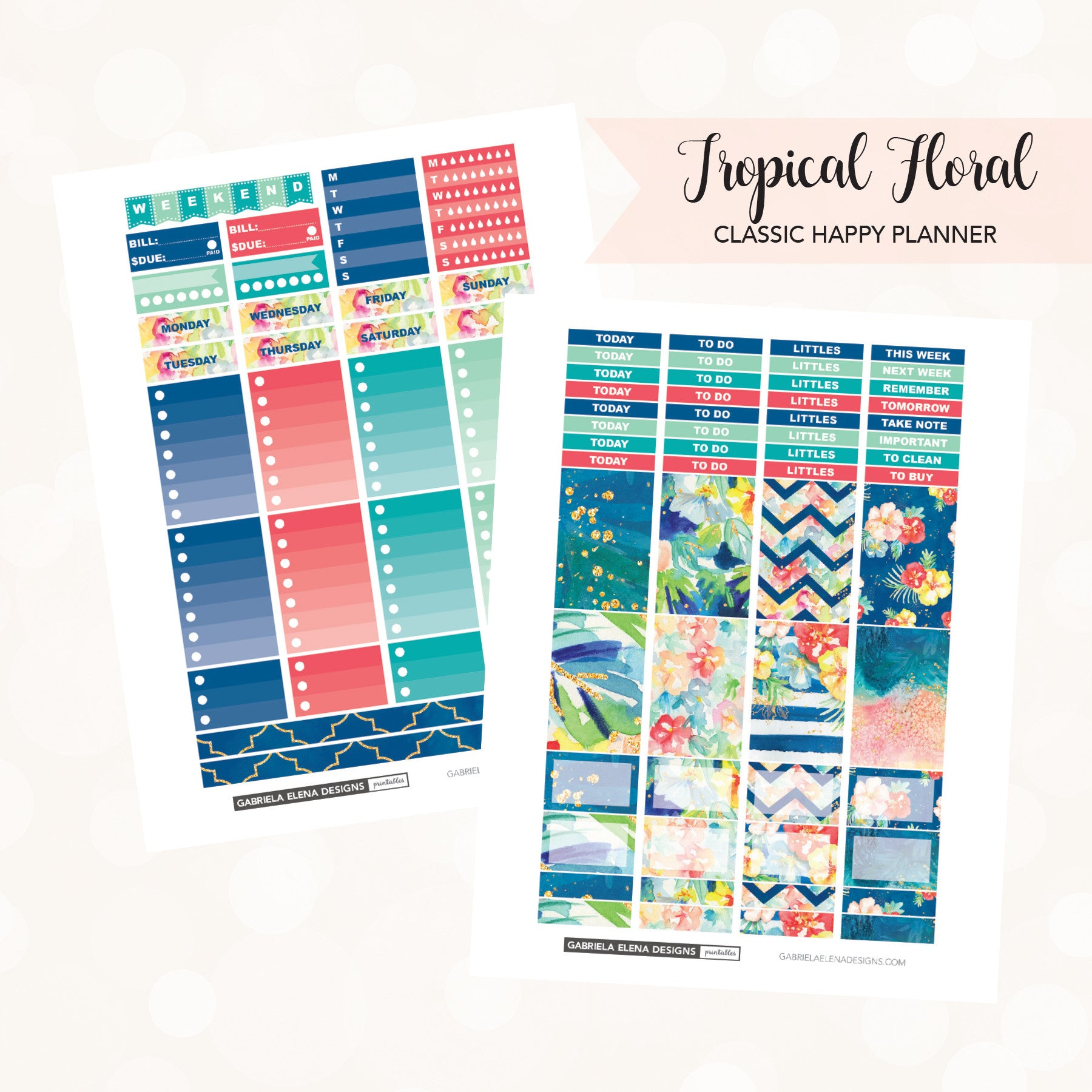 22e593c12f37d CLASSIC HAPPY PLANNER Printable / Instant Download / Tropical Floral