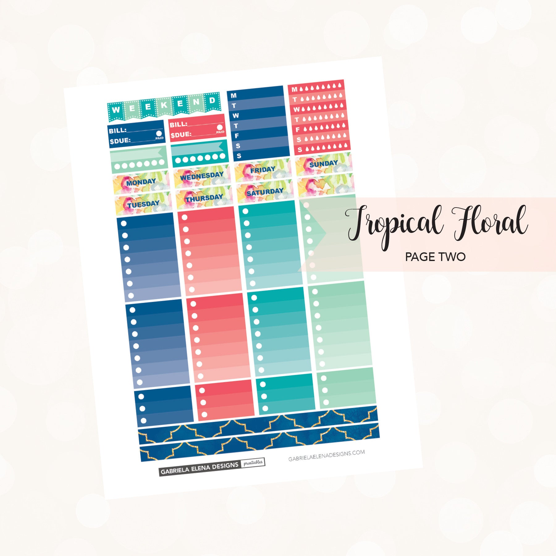 CLASSIC HAPPY PLANNER Printable / Instant Download / Tropical Floral