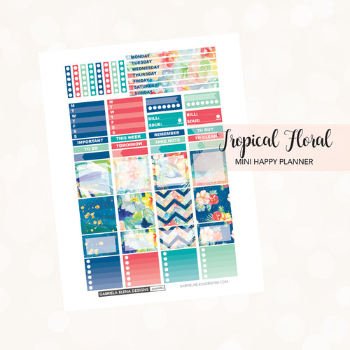 MINI HAPPY PLANNER Printable / Instant Download / Tropical Floral