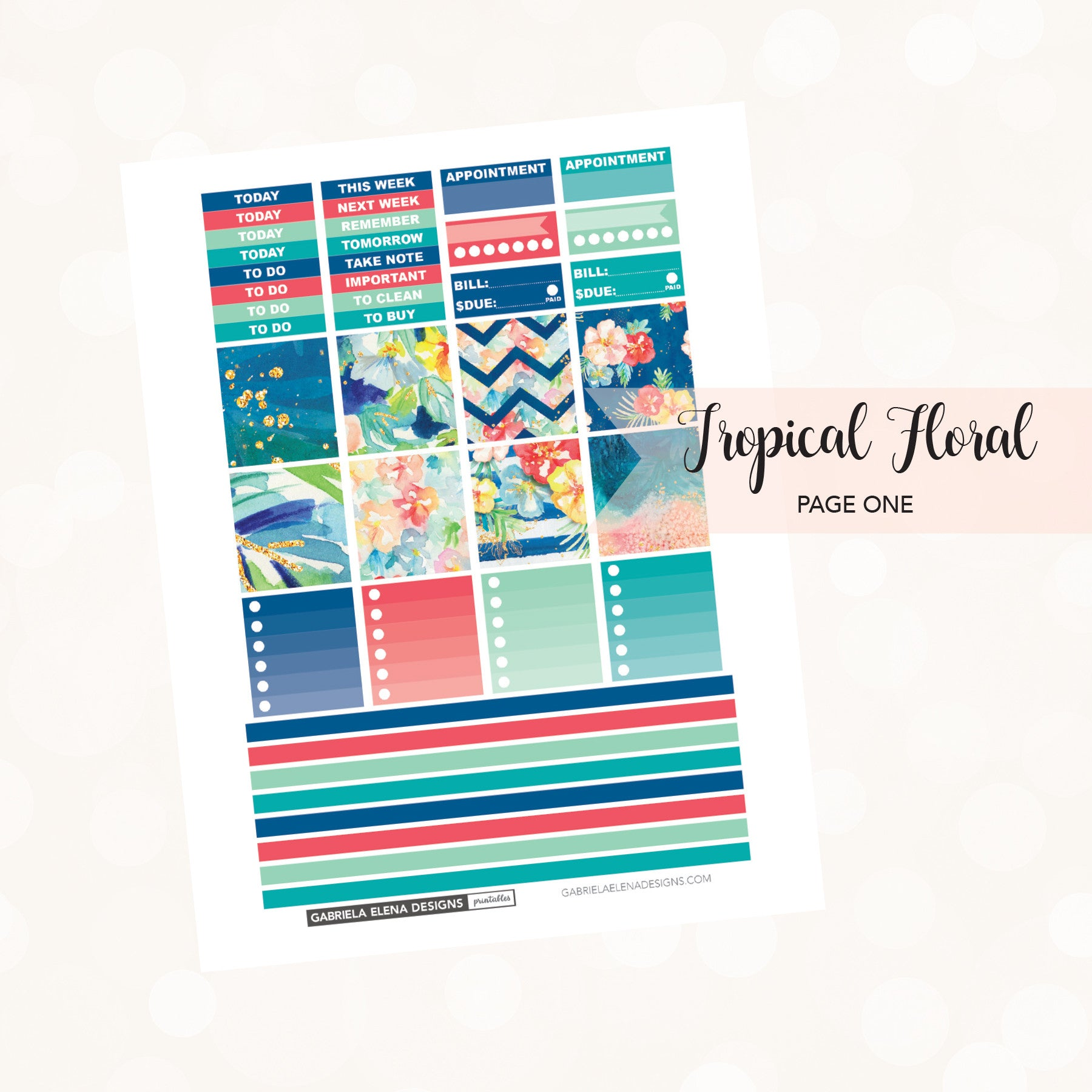 HORIZONTAL Printable / Instant Download / Tropical Floral