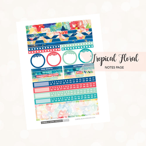 NOTES Printable / Instant Download / Tropical Floral