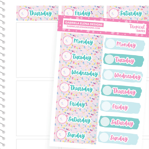 Tropical / Photo Series // a la carte / Sticker Kit Add On / Date Headers / FOIL
