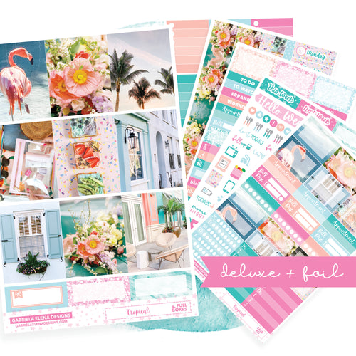 Tropical / Photo Series // Deluxe VERTICAL // Sticker Kit // Full Weekly Kit / FOIL