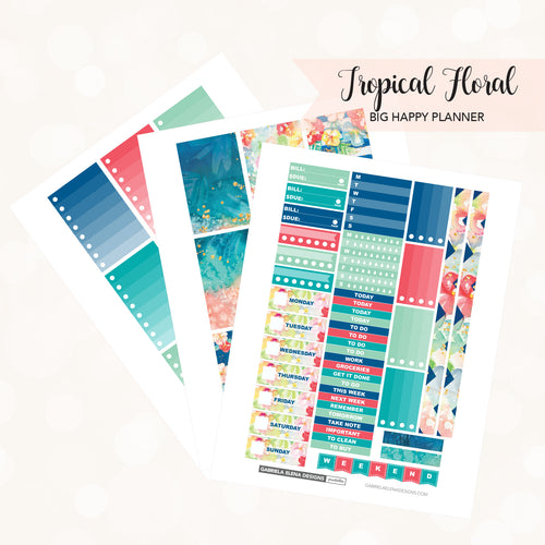 BIG HAPPY PLANNER Printable / Instant Download / Tropical Floral