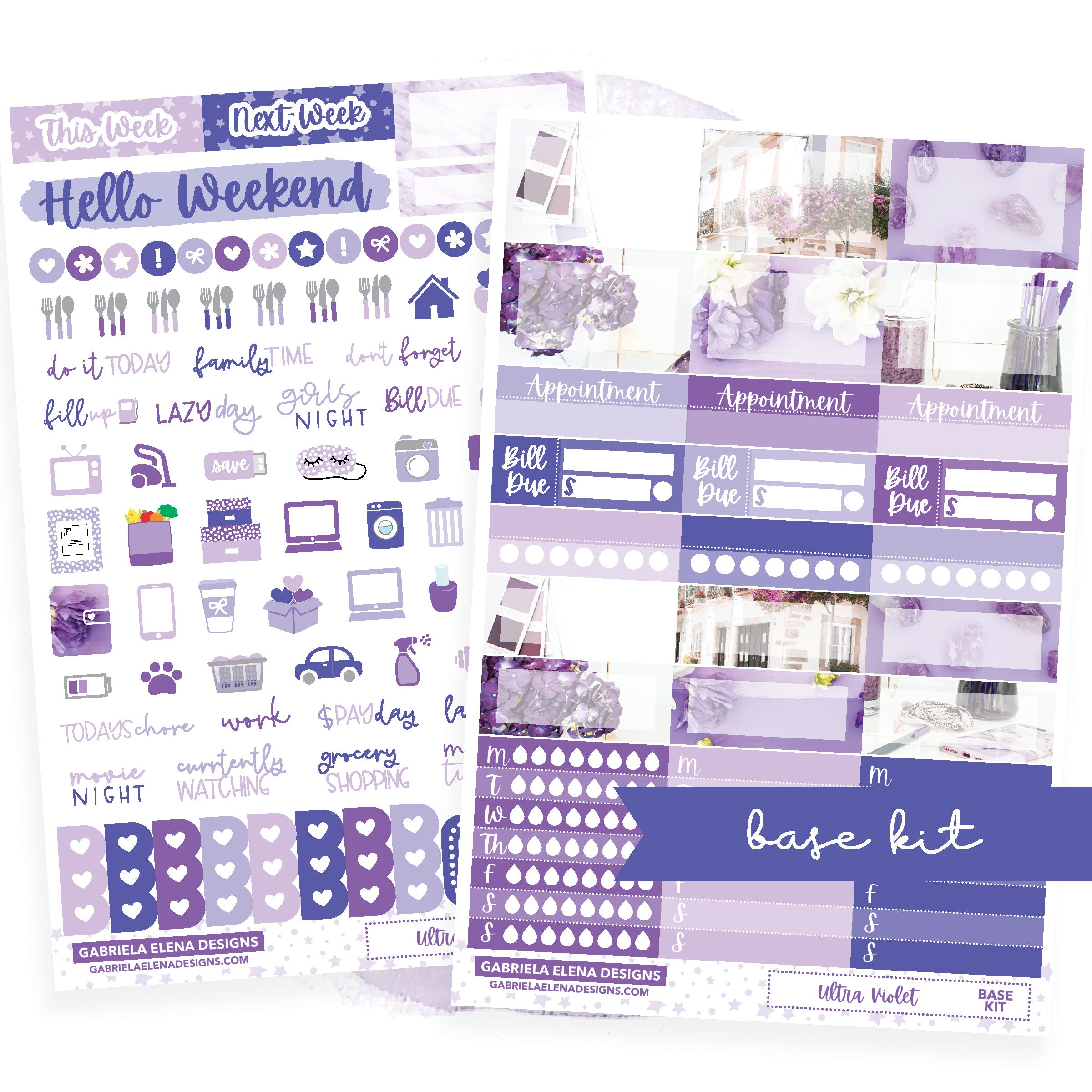 Ultra Violet / Photo Series // BASE KIT / Icons / Functional / Sticker Kit