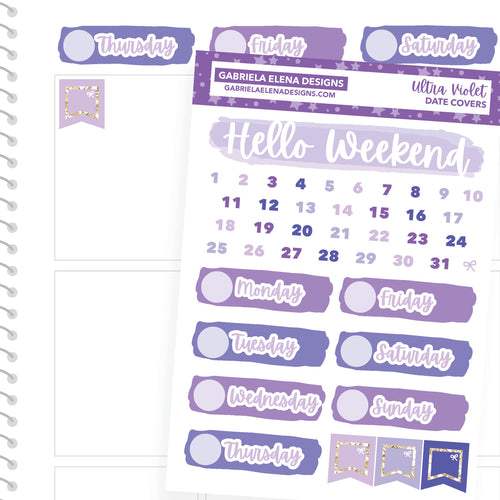 Ultra Violet / Photo Series // a la carte / Sticker Kit Add On / Date Headers