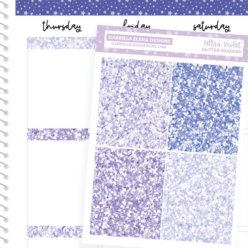 Ultra Violet / Photo Series // a la carte / Sticker Kit Add On / Glitter Headers