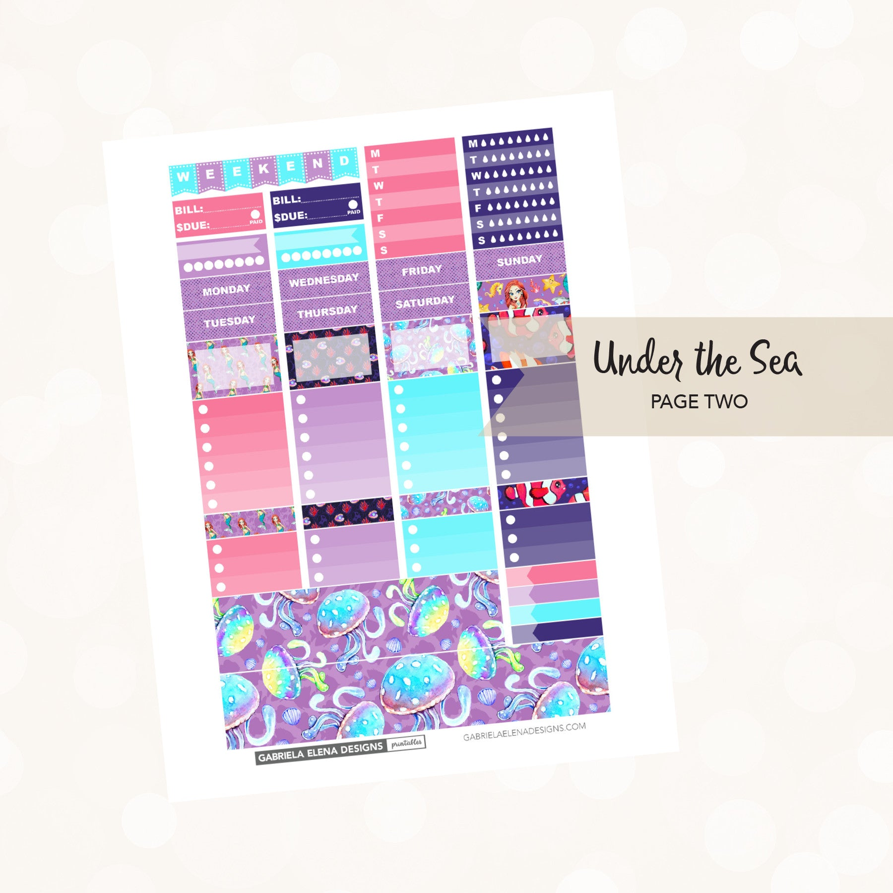 VERTICAL Printable / Instant Download / Under the Sea