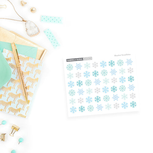 Weather Stickers // Snow Days / Snowflakes