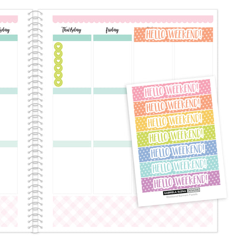 Weekend Banner // Functional Planner Stickers / Pastels