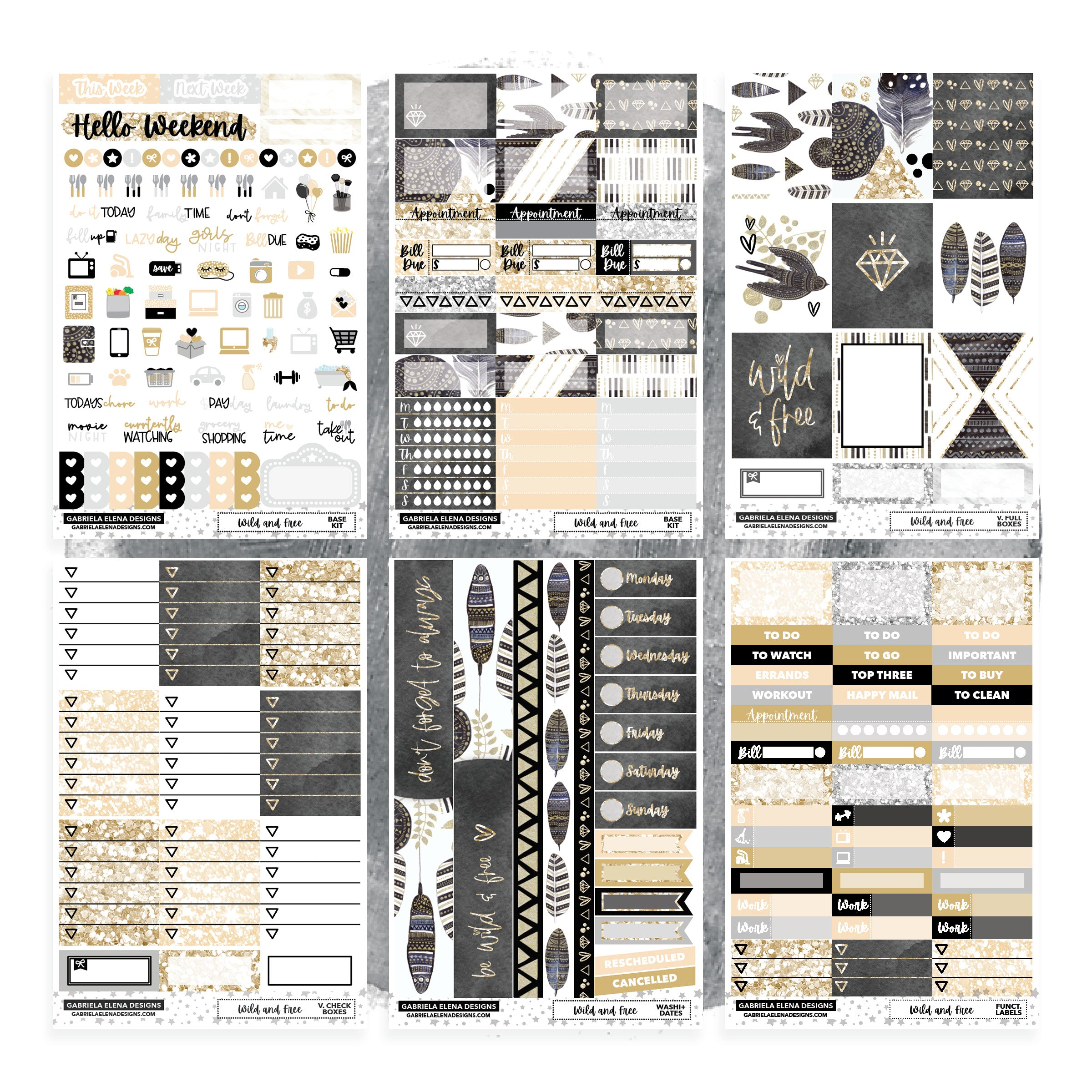 Wild and Free // Deluxe VERTICAL // Sticker Kit // Full Weekly Kit / FOIL