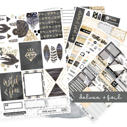 Wild and Free // Deluxe EC VERTICAL // Sticker Kit // Full Weekly Kit / FOIL