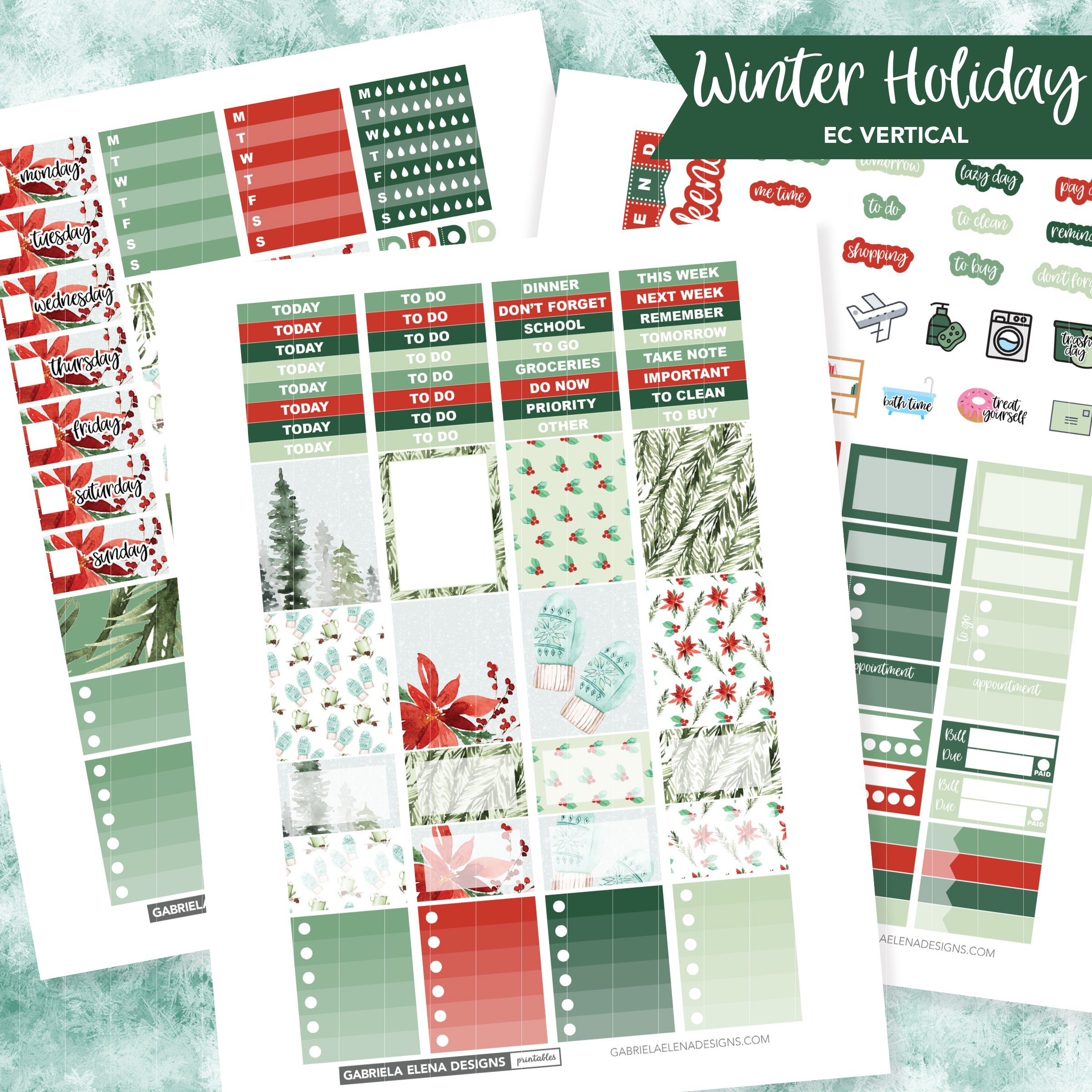 VERTICAL Printable / Instant Download / Winter Holiday