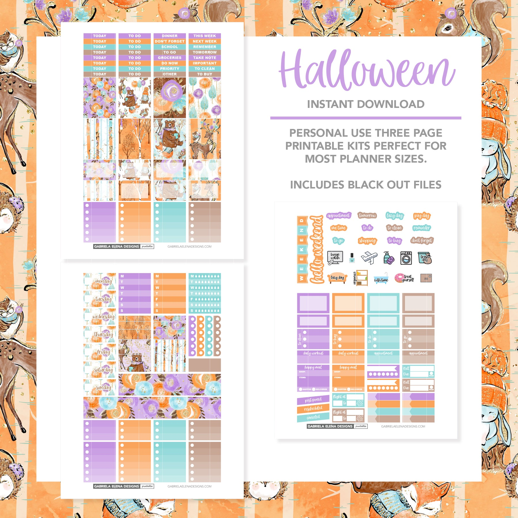 VERTICAL Printable / Instant Download / Woodland