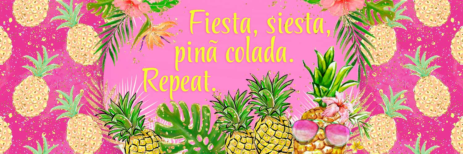 P0712 Pina Colada Pink Pineapple Tropical Print