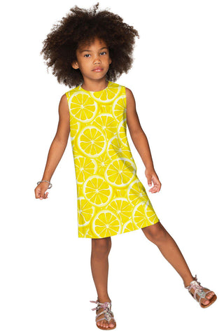 A Piece of Sun Adele Cute Yellow Lemon Print Shift Dress - Girls