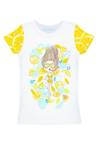 A Piece of Sun Zoe White Cute Girl Print T-Shirt - Women - Pineapple Clothing