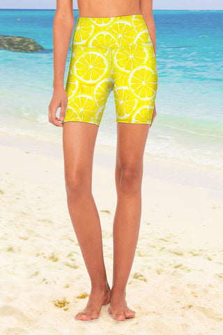 A Piece of Sun Karen Yellow Performance Yoga Biker Shorts - Women - Pineapple Clothing