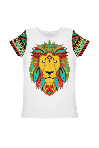 Africana Zoe Colored Designer Lion Print T-Shirt - Girls - Pineapple Clothing