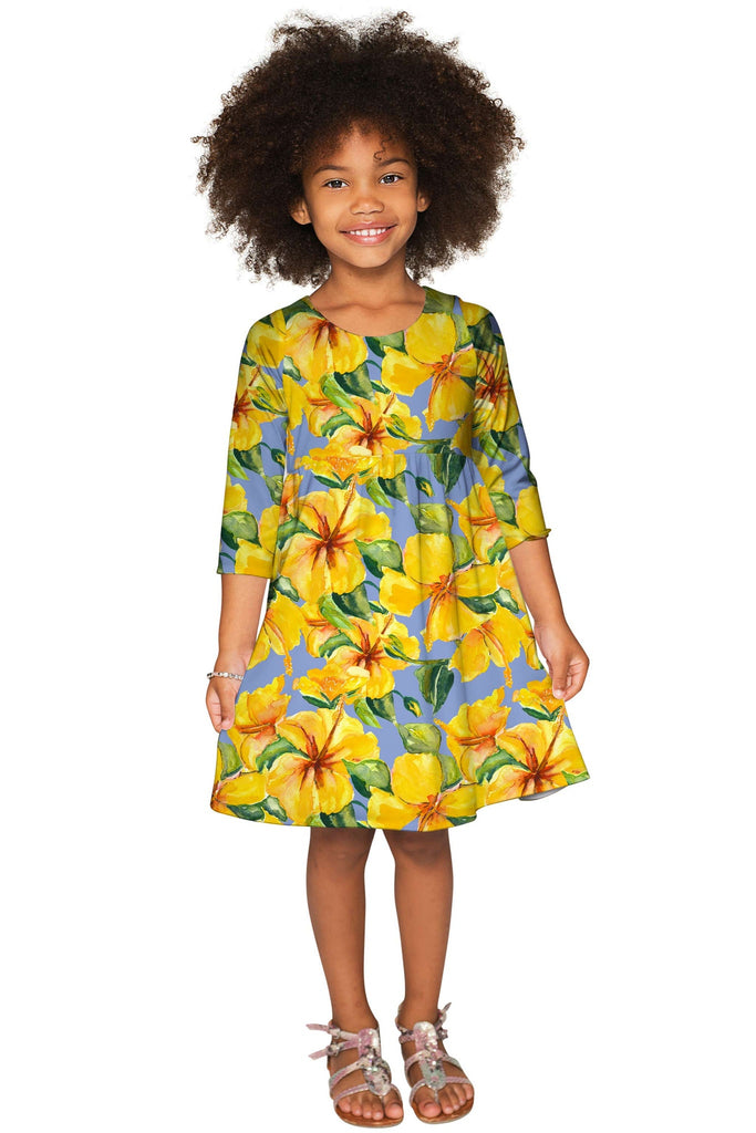After the Rain Gloria Empire Waist Floral Pattern Dress - Girls - Pineapple Clothing
