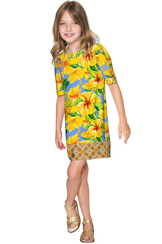 After the Rain Grace Yellow Floral Sleeved Shift Dress - Girls - Pineapple Clothing
