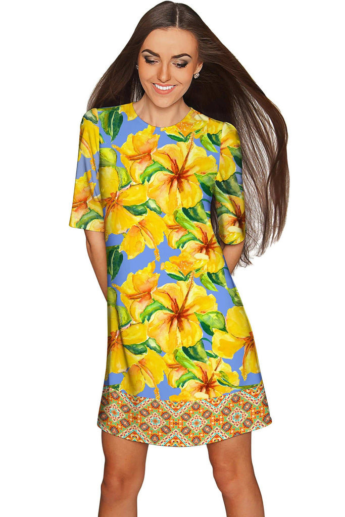 After the Rain Grace Yellow Floral Print Shift Dress - Women - Pineapple Clothing