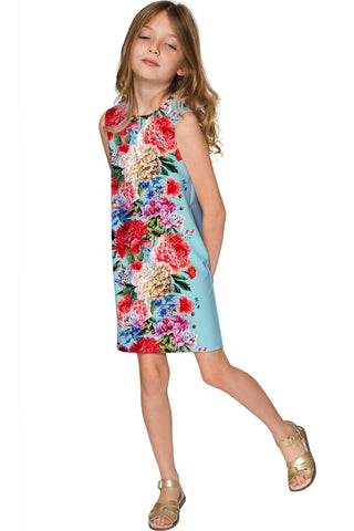 Amour Adele Blue Floral Print Chic Shift Party Dress - Girls - Pineapple Clothing