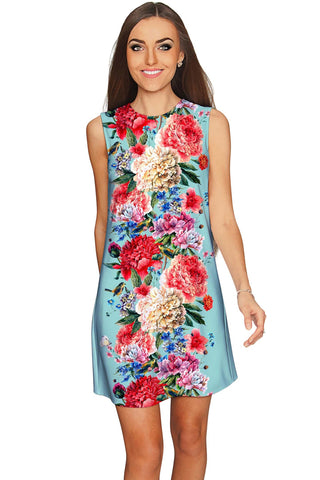 Amour Adele Blue Vintage Floral Shift Party Dress - Women - Pineapple Clothing