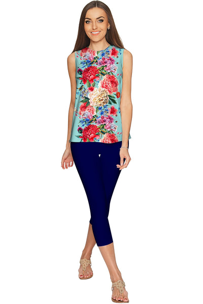 Amour Emily Blue Floral Print Sleeveless Dressy Top - Women
