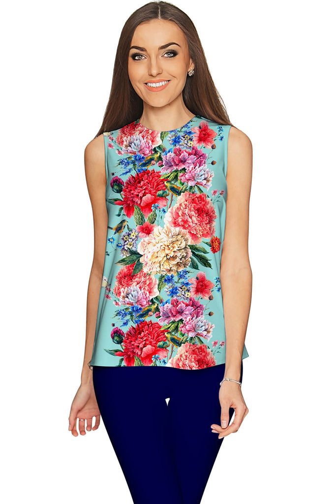 Amour Emily Blue Floral Print Sleeveless Dressy Top - Women - Pineapple Clothing