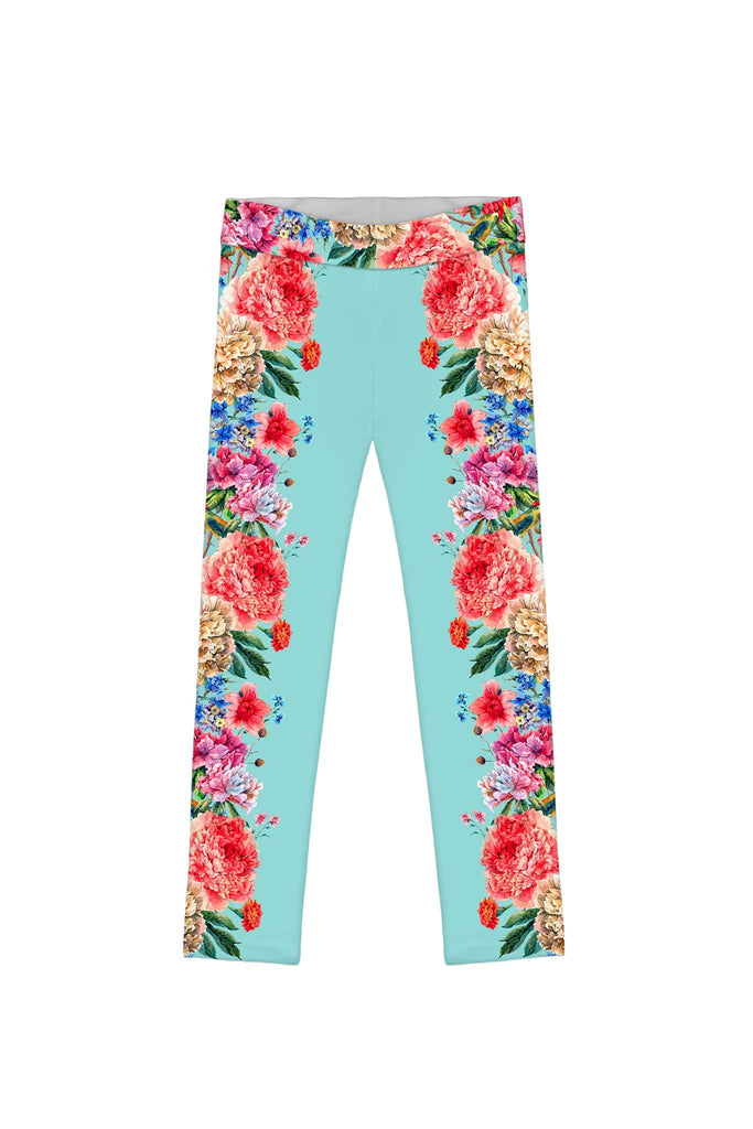 Amour Lucy Blue Floral Print Cute Eco Leggings - Girls - Pineapple Clothing