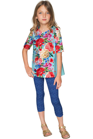 Amour Sophia Floral Print Designer Sleeved Dressy Top - Girls - Pineapple Clothing