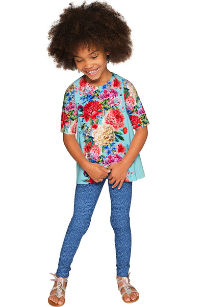 Amour Sophia Floral Print Designer Sleeved Dressy Top - Girls