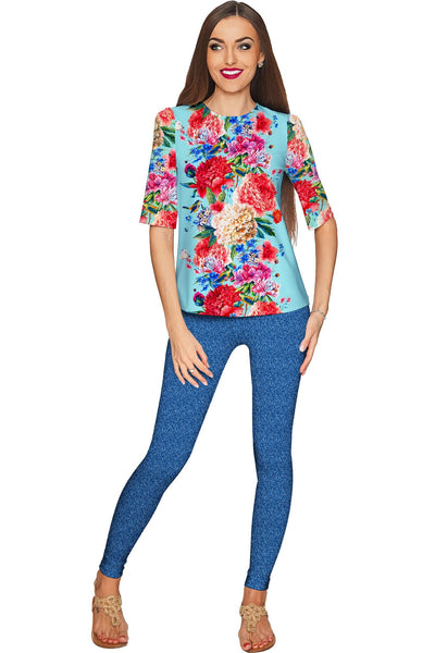 Amour Sophia Floral Print Elbow Sleeve Dressy Top - Women - Pineapple Clothing
