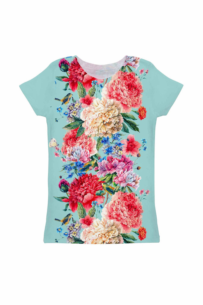 Amour Zoe Blue Floral Print Cute Designer Tee - Girls - Pineapple Clothing