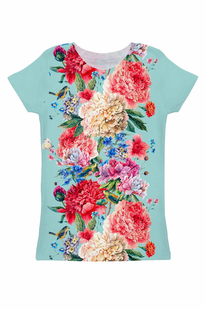 a70be76a0e4 Amour Zoe Blue Floral Print Designer T-Shirt - Women - Pineapple Clothing