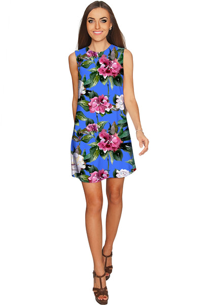 Aquarelle Adele Catchy Floral Sleeveless Shift Dress - Women