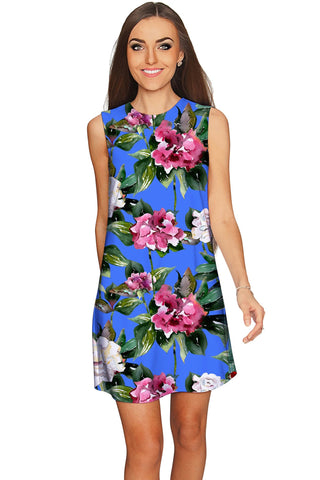 Aquarelle Adele Catchy Floral Sleeveless Shift Dress - Women - Pineapple Clothing