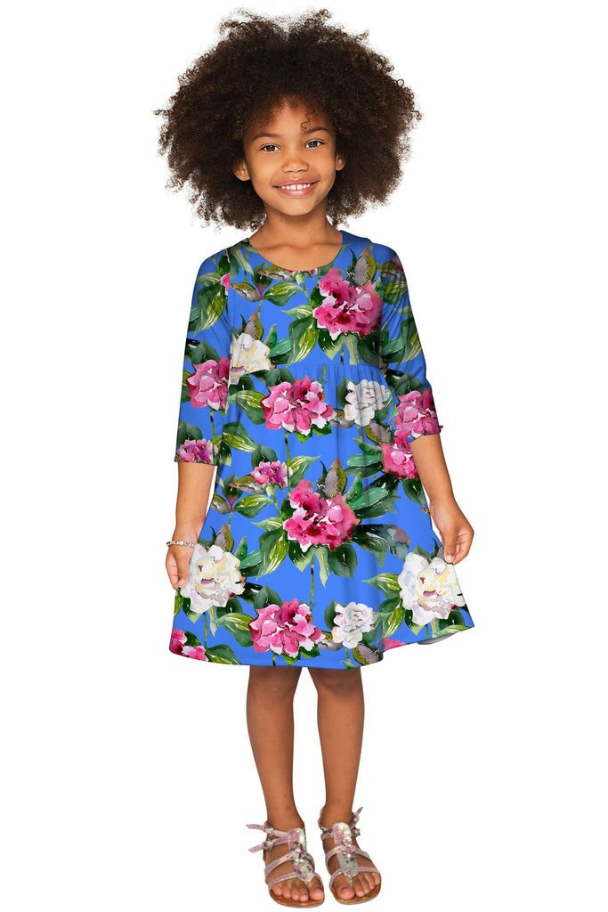 Aquarelle Gloria Fit & Flare Blue Floral Party Dress - Girls - Pineapple Clothing