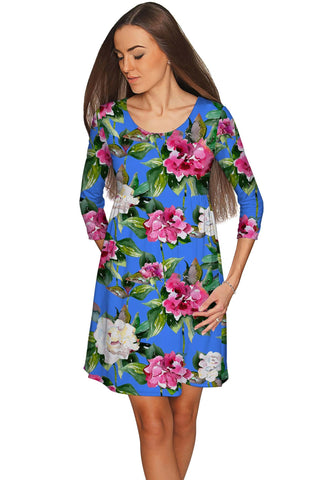 Aquarelle Gloria Empire Waist Flower Print Dress - Women - Pineapple Clothing