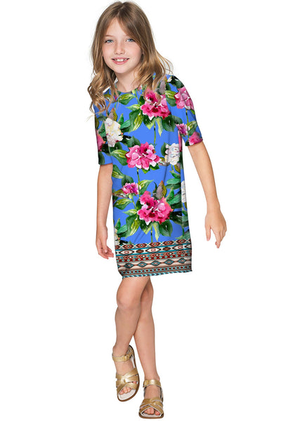 Aquarelle Grace Blue Floral Print Shift Party Dress - Girls