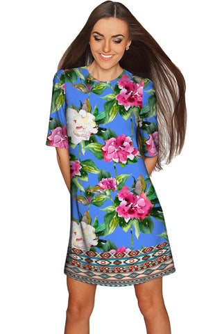 Aquarelle Grace Blue Catchy Floral Shift Dress - Women - Pineapple Clothing
