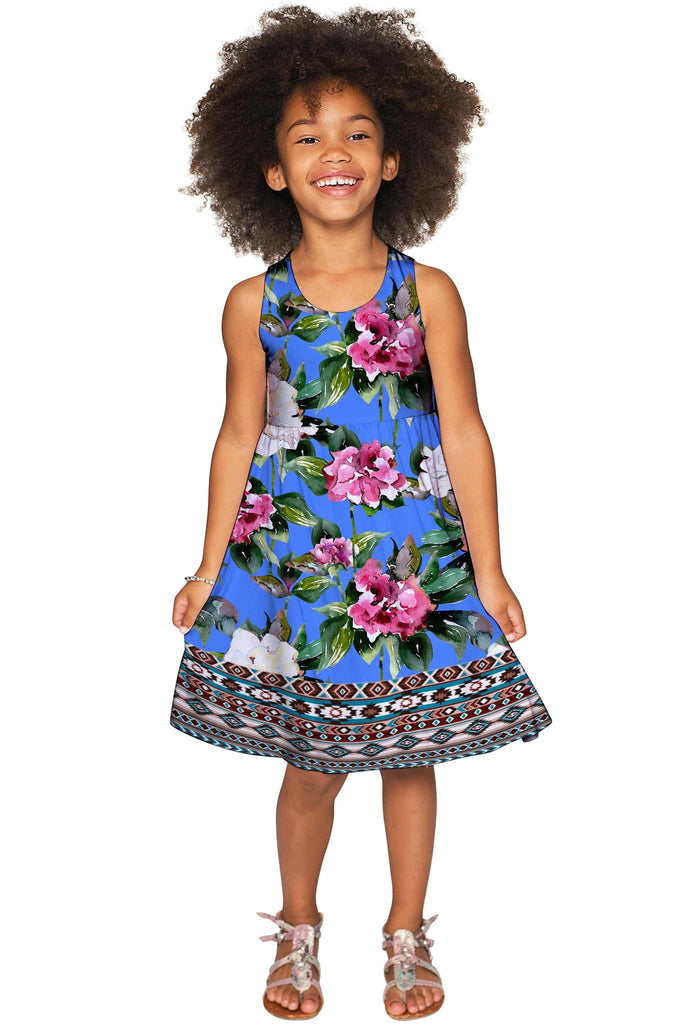 Aquarelle Sanibel Empire Waist Blue Floral Party Dress - Girls - Pineapple Clothing