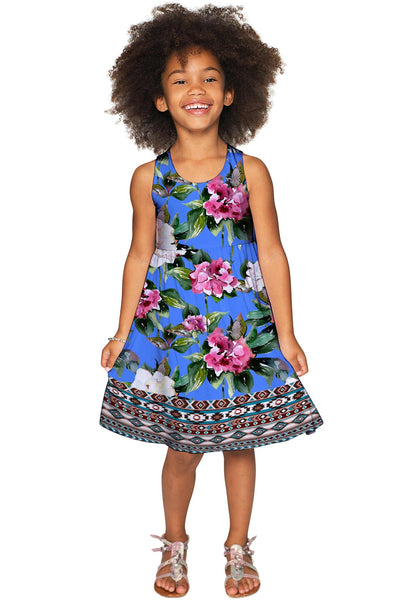 Aquarelle Sanibel Empire Waist Blue Floral Party Dress - Girls
